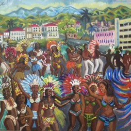 Glendon Mcfarlane: 'Caribbean Carnival 1', 2012 Pen Drawing, Culture. Artist Description:     Caribbean scene   Typical of the carnivals of Jamaica and Trinidad and Tobago in Acrylic on Linen.   ...