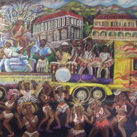 Glendon Mcfarlane: 'Caribbean Carnival 2', 2012 Pen Drawing, Culture. Artist Description:    Caribbean scene   Typical of the carnivals of Jamaica and Trinidad and Tobago in Acrylic on Linen.  ...