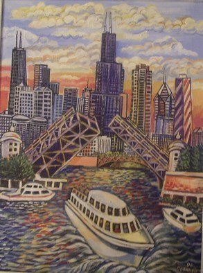 Artist: Glendon Mcfarlane - Title: Chicago, City of Bridges - Medium: Acrylic Painting - Year: 2007