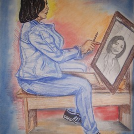 Glendon Mcfarlane: 'Portrait  Artist', 2012 Pencil Drawing, Culture. Artist Description:         A beautifully Illustrated work of art. A female artist busy at work. ...