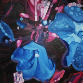 Edwin Villavera: 'Blue Flora', 2009 Oil Painting, Floral. Artist Description:   Flower  ...