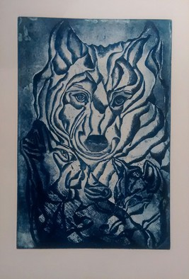 Edelweiss Calcagno Artwork The Guardians, 2014 Etching, Animals