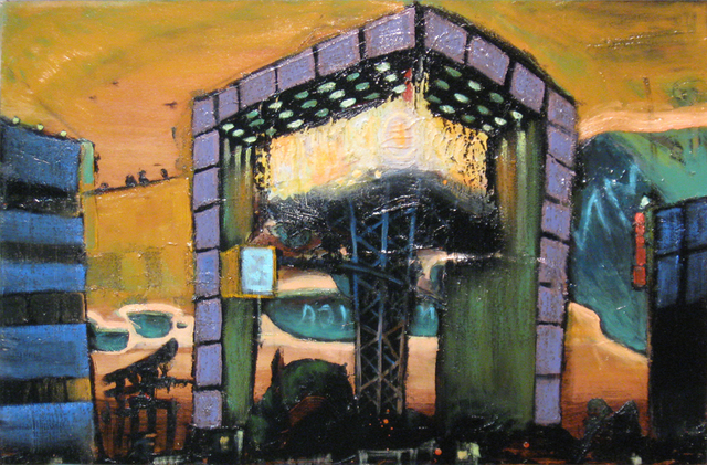Edem Elesh  'Atomic Elevator', created in 2009, Original Pastel.