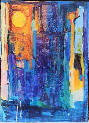 Edgar Bonne: 'Serenade in Blue', 2015 Mixed Media, Abstract.   Mixed media on paper, mounted on composition board.Mixed Media on paper, pasted on composition board....
