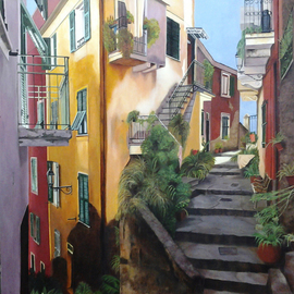 Edna Schonblum: 'Cinque terre', 2014 Oil Painting, Figurative. Artist Description:      transparencie, sea     ...