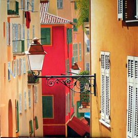 Edna Schonblum Artwork Windows  Lisbon, 2008 Oil Painting, Urban