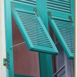 Edna Schonblum: 'Windows  green', 2012 Oil Painting, Urban.