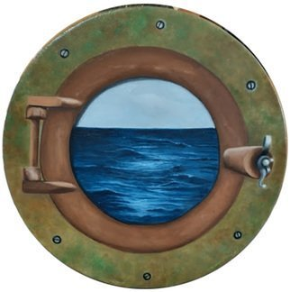 Edna Schonblum: 'hatch', 2020 Oil Painting, Seascape. simulation from a boat hatch in a round canvas...