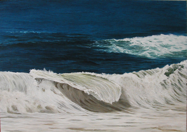 Edna Schonblum  'Stormy Sea In Leblon Beach', created in 2007, Original Painting Oil.
