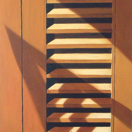 Edna Schonblum: 'window  detail', 2008 Oil Painting, Urban. Artist Description:  oil over canvas over wood ...