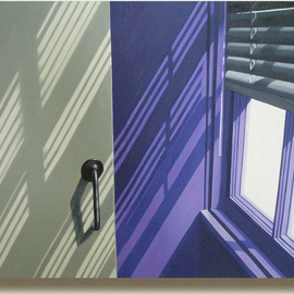 Edna Schonblum Artwork windows interior, 2009 Oil Painting, Urban