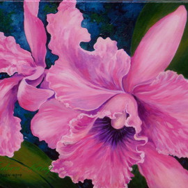 Edoen Kang Artwork Borneo Orchid Cattleya, 2012 Acrylic Painting, Floral