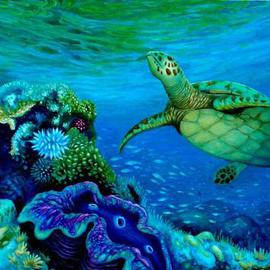Edoen Kang: 'Green turtle and Giant Clam', 2007 Oil Painting, Sea Life. Artist Description:   30. 0 ...