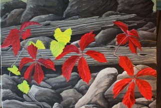 Artist: Edward Reid - Title: Virginia Creeper Abandoned Fencerow - Medium: Acrylic Painting - Year: 2012
