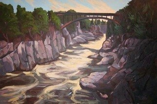 Artist: Edward Abela - Title: Grand Falls, New Brunswick, Canada - Medium: Acrylic Painting - Year: 2009