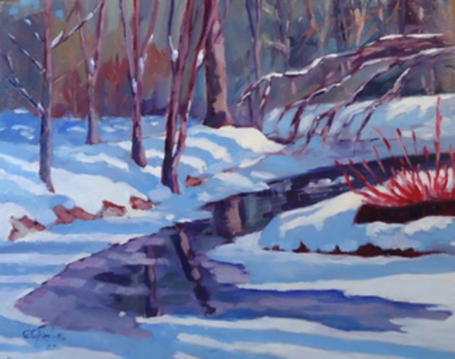 Edward Abela  'Snow At Toogood Pond', created in 2014, Original Watercolor.
