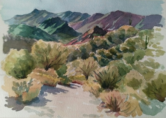 Edward Abela  'Superstition Mountains Arizona', created in 2018, Original Watercolor.