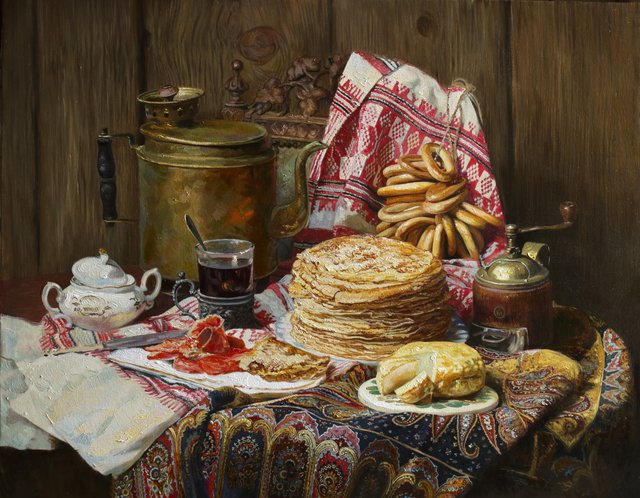 Eduard Panov  'Still Life With Pancake', created in 2017, Original Painting Oil.