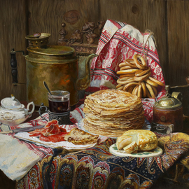 Eduard Panov: 'still life with pancake', 2017 Oil Painting, Still Life. Artist Description: pancake, coffee, breakfast...