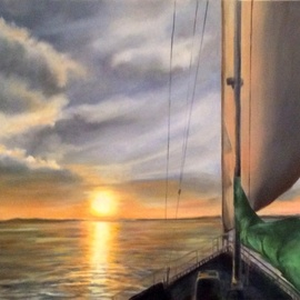 Renee Pelletier Egan: 'elliots journey', 2019 Oil Painting, Sea Life. Artist Description: A dramatic sunset while sailing on a sailboat. ...