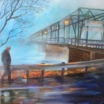 man at a misty bridge By Renee Pelletier Egan