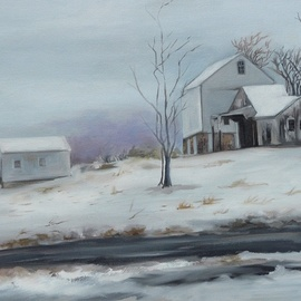 Renee Pelletier Egan: 'winter farm', 2017 Oil Painting, Farm. Artist Description: This winter painting depicts a snowy day at a farm, where you feel the quiet and tranquility, where the road feels recently plowed. ...