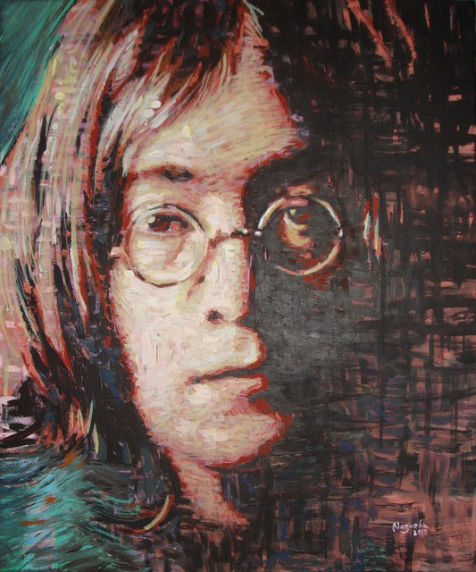 Erick Nogueda  'John Lennon Portrait Two', created in 2012, Original Painting Acrylic.