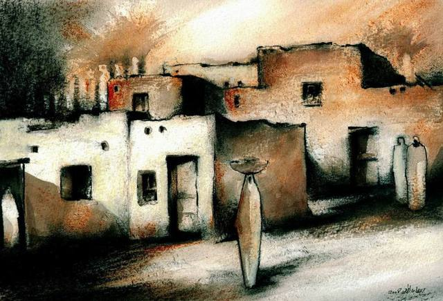 Ehab Lotfi  'Nubian Village 3', created in 2008, Original Drawing Charcoal.