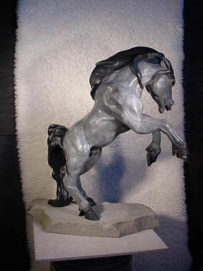 Cheryl Ehmann: 'Born to be Wild', 2004 Bronze Sculpture, Animals. A rearing Fresian Stallion with raging eyes and tongue protruding atop a Flagstone base. ...