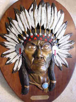 Cheryl Ehmann: 'The Redskin', 2004 Bronze Sculpture, Abstract Figurative. A proud Indian Chief mounted on solid oak plaque...