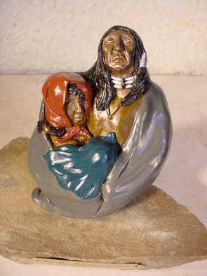 Cheryl Ehmann: 'To Be Remembered', 2005 Bronze Sculpture, Abstract Figurative. Artist Description: Old Indian & daughter holding baby on the