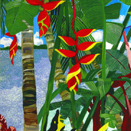 2 Red Heliconias Hanging on Canvas