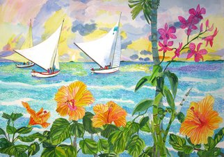 Artist: Eileen Seitz - Title: 3 Day Sailers - Medium: Watercolor - Year: 2010