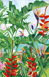 3 Heliconias on Canvas
