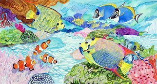 Eileen Seitz: 'Fin Tasia', 2020 Watercolor, Fish. watercolor, of angel fish, blue tang, clownfish, harmony tropical colorful...