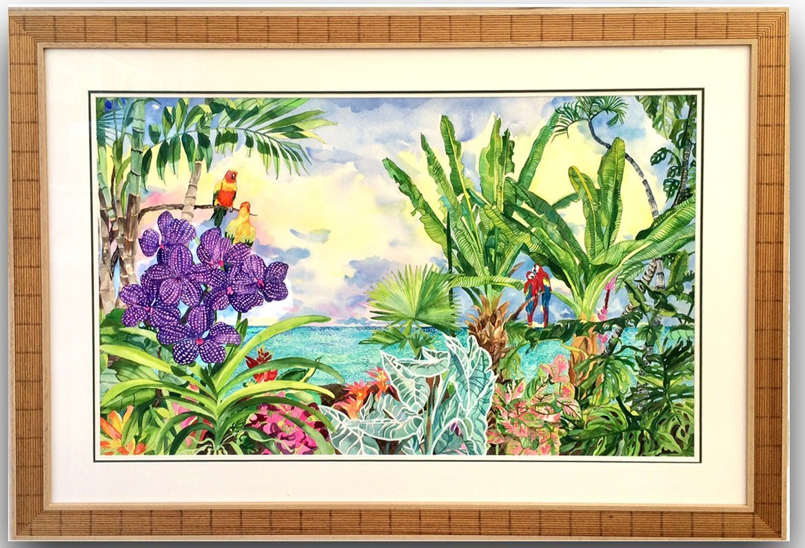 Eileen Seitz: 'LOVE IS IN THE AIR', 2019 Watercolor, Landscape. tropical, plants, trees, ocean, birds, sky...