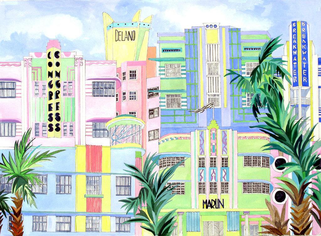 eileen seitz artwork south beach art deco original watercolor