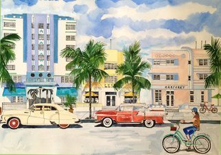 Eileen Seitz: 'South Beach Then and Now', 2015 Giclee, Architecture. original watercolor was COMMISSIONED by a client who lives on Miami Beach, Florida...