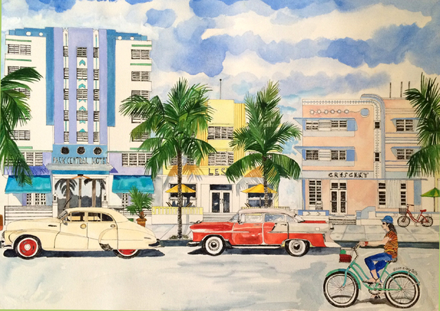 Eileen Seitz  'South Beach Then And Now', created in 2015, Original Poster.