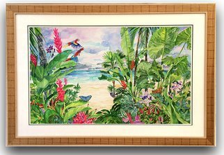 Eileen Seitz: 'coming home', 2020 Watercolor, Garden. Macaws flying Home to their tropical paradise by the sea...