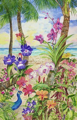 Eileen Seitz Artwork life amongst the orchids, 2017 Watercolor, Beach