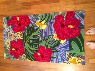 Eileen Seitz: 'rose hibiscus runner', 2019 Other, Beach. Custom colored 100 new zeal as wool hand tufted and carved to create this thick gorgeous rug. ...