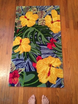 Eileen Seitz: 'yellow hibiscus runner', 2020 Other, Floral. Unique Yellow Hibiscus 100 . New Zealand Wool Rug, hand tufted and caravel. ...