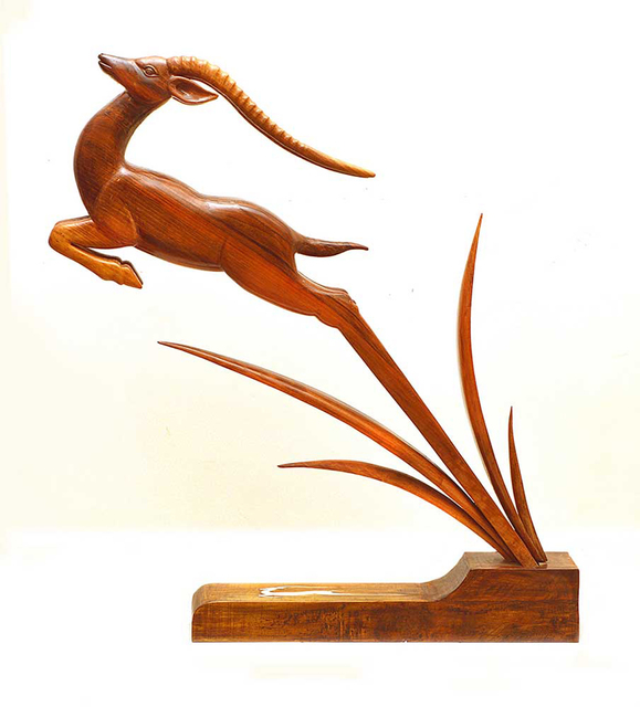 Eisa Ahmadi: leaping gazelle, 2014 Wood Sculpture