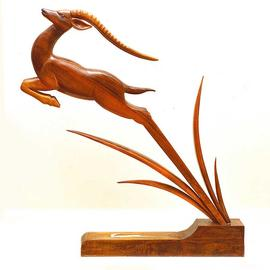 Eisa Ahmadi Artwork leaping gazelle, 2014 Wood Sculpture, Animals