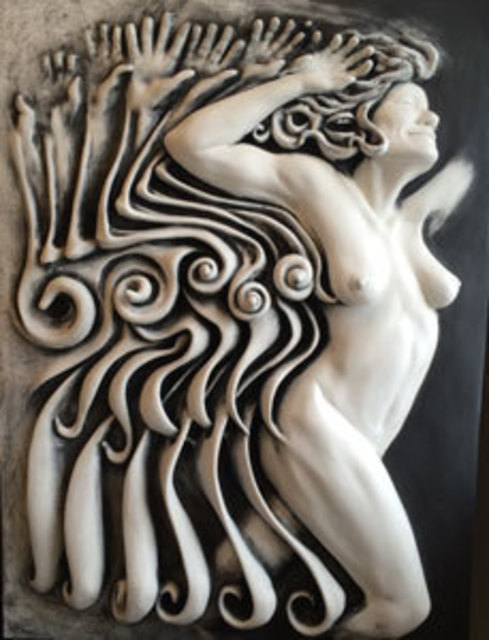 eric jorgenson artwork no wait she laughed original bas relief