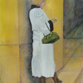 Elizabeth Bogard: 'Checking Calls', 2009 Acrylic Painting, Abstract Figurative. Artist Description: Painted from original photograph  ...