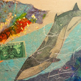 Elizabeth Bogard Artwork Finback Whale 11 am, 2015 Mixed Media, Sea Life
