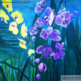 Elizabeth Bogard: 'Hidden Beauties', 2013 Acrylic Painting, Abstract Figurative. Artist Description:    nature, natural, pond, lake, river, pool, flora, plants, floral, flowers, orchids, wild orchids, beauty, purple, white, yellow, fushia, magenta, blue, green, mystery, restful, peaceful, abstract expressionist, realism, scenic, seascape, landscape ...