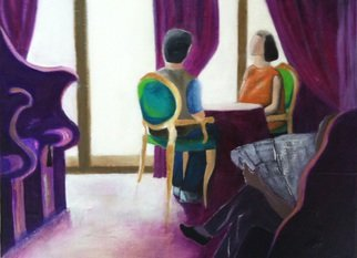 Elizabeth Bogard Artwork Hotel Lounge Conversation, 2014 Hotel Lounge Conversation, Abstract Figurative